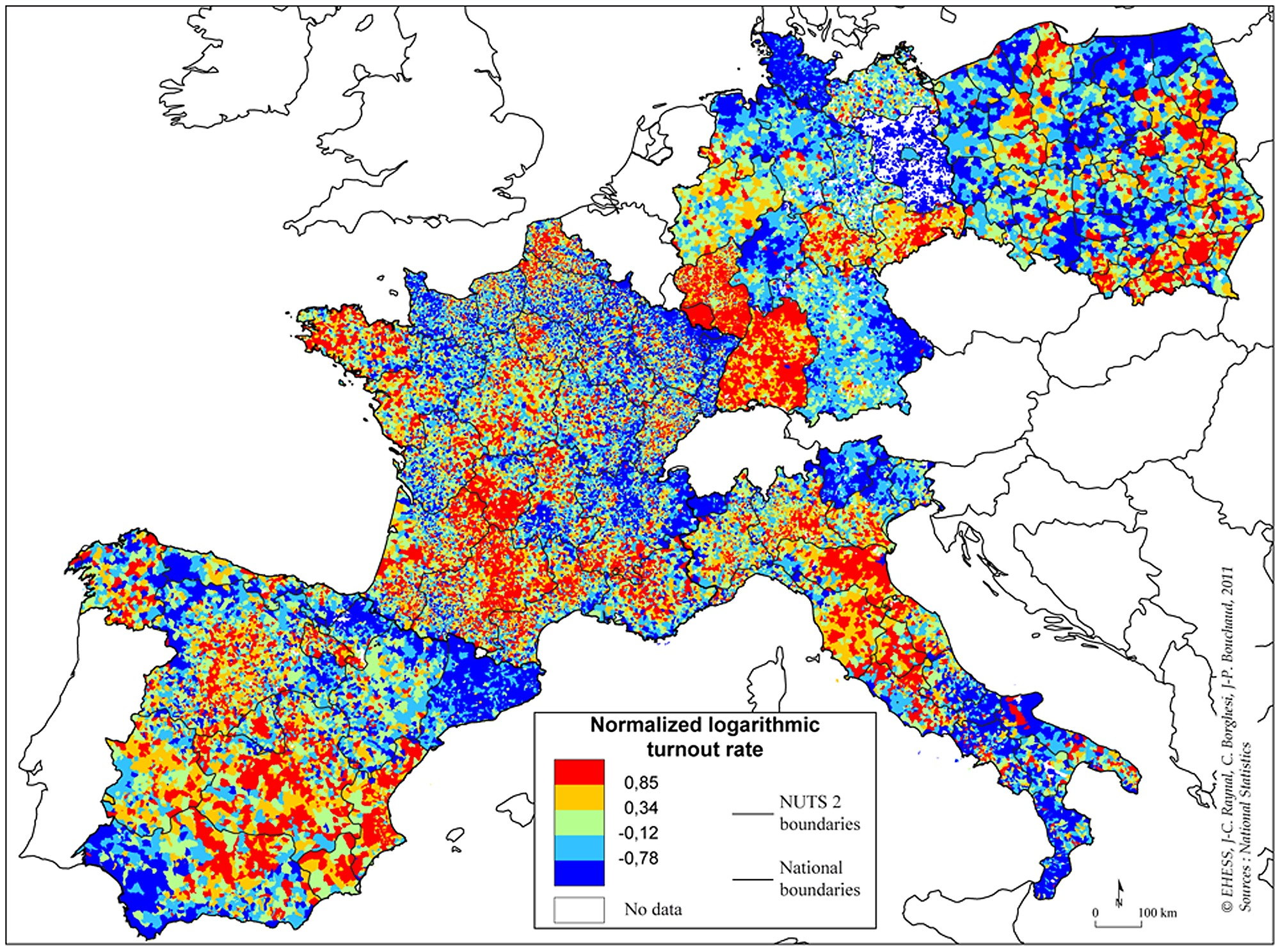Heat Map Of The Normalized Logarithmic Turnout Rate For The - France germany map