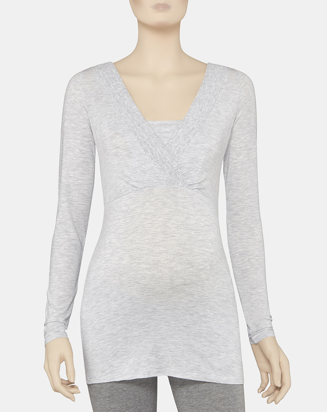 Foto T-shirt allattamento manica lunga con arricciatura Prénatal