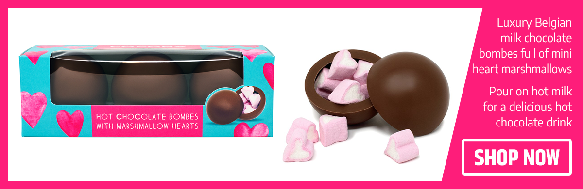 Hot Chocolate Bombes With Heart Marshmallows