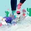 Unicorn Vs Llama in the Land of the Cactus Ladies Odd Socks
