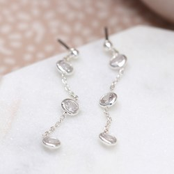 Silver plated triple crystal and chain earrings
