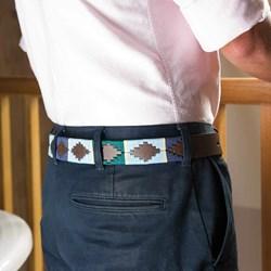 Leather Polo Belt - Blue Design