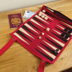 Red Roll Up Suede Travel Backgammon Set - Large