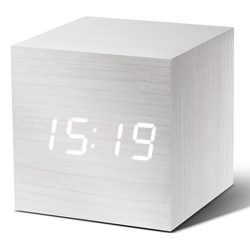 White Cube Click-on Alarm Clock with White LED Display