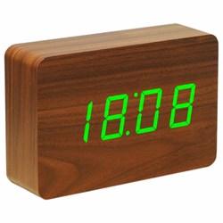 Walnut Brick Click-on Alarm Clock with Green LED Display