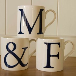 """Alphabet Initial Mugs - Set of Three   Two letters and an """"&"""""""