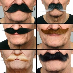 Stick on Moustaches Set of 6   made from REAL looking hair!