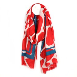 Graphic print border scarf - red
