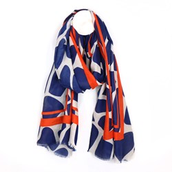 Graphic print border scarf - navy