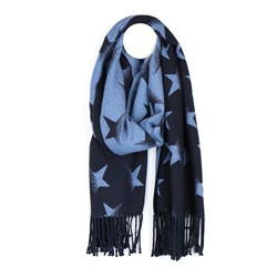 Reversible navy and mid blue star scarf