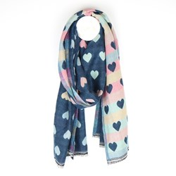 Reversible pastel and blue jacquard heart scarf