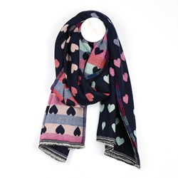 Reversible navy and pastel jacquard heart scarf