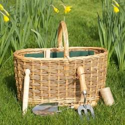 Wicker Gardening Basket with Five Tools