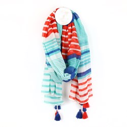 Aqua blue and red stripe scarf with tassels