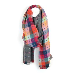 Grey and multi check scarf with little reversible jacquard hearts