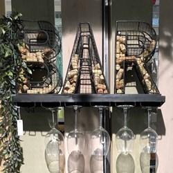 """Metal """"BAR"""" Sign & Wine Glass Holder"""