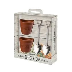 Flower Pot and Shovel Egg Cup Set