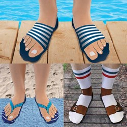 Set of 3 Novelty Socks: Sliders, Flip Flops & Sandals