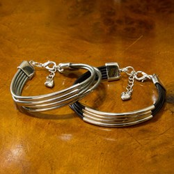 Alana Leather & Silver Multistrand Bracelet | Tilley & Grace