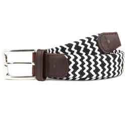 Black & White Woven Fabric Belt