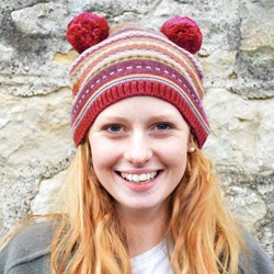 Fair Isle Bobble Hat Beanie | 100% Natural Wool