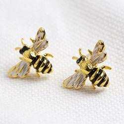 Gold Enamel Bee Stud Earrings