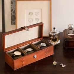 Real Leather Watch Box | For Three Watches