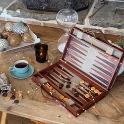 Real Leather Backgammon Set