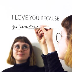 'I Love You Because' Mirror Sticker and Pen