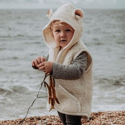 Little One's Hooded Cream Gillet | With Sheep Ears