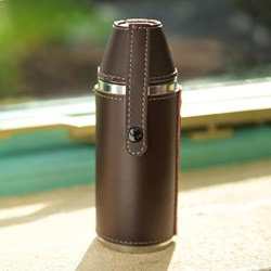 Leather Camping Flask with Cups