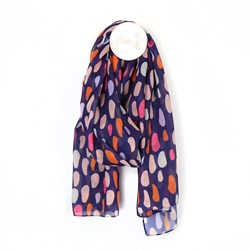 Recycled blue and pink mix oval print scarf
