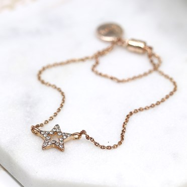 Rose gold plated fine chain and crystal star bracelet