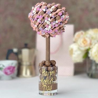 Personalised Pink Drizzle & Heart Sprinkles Malteser Tree