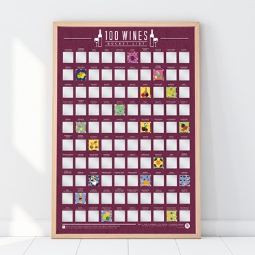 100 Wines Scratch Off Poster