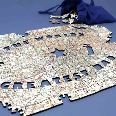 An image of Personalised Greatest Dad OS Map Jigsaw Puzzle