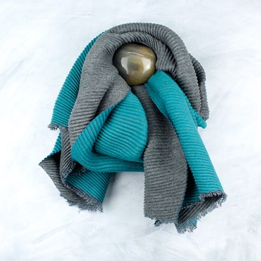 Grey Turquoise Pleated Scarf