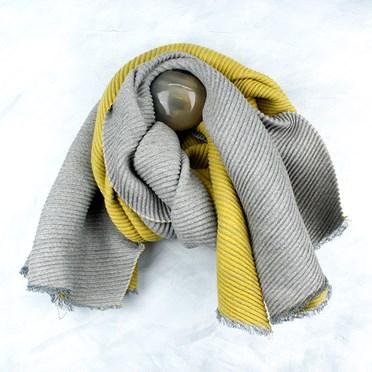 Grey Mustard Pleated Scarf