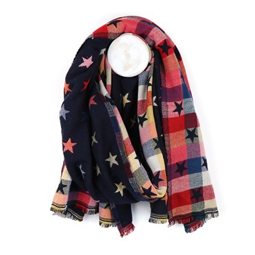 Navy Blue Reversible Jacquard Star Scarf