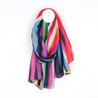 Recycled yarn bright stripe scarf