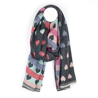 Grey and pastel reversible jacquard heart scarf