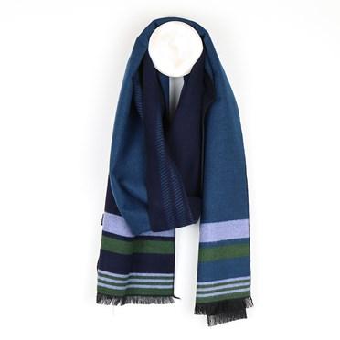 Men's navy mix soft striped winter scarf