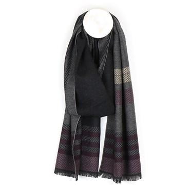 Men's grey mix soft striped winter scarf