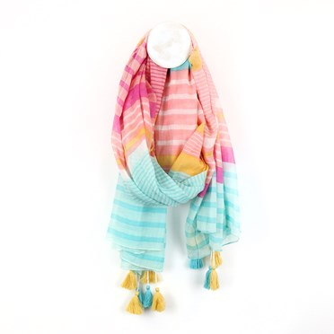 Aqua, pink and mustard stripe cotton scarf with tassels