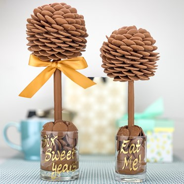 An image of Personalised Chocolate Button Sweet Tree | 25cm tall
