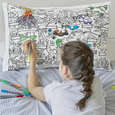 An image of Dinosaur Doodle Pillowcase | with fabric pens