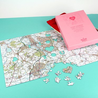 Personalised 'We First Met Here' Map Jigsaw Puzzle