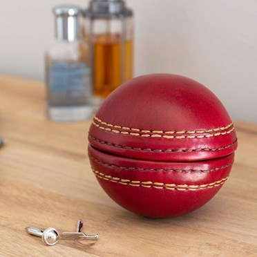 Cricket Ball Cufflink Case With Cufflinks Set