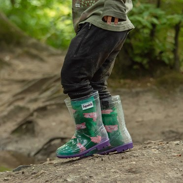 An image of Children's Wellie Boots and Fun Socks Set