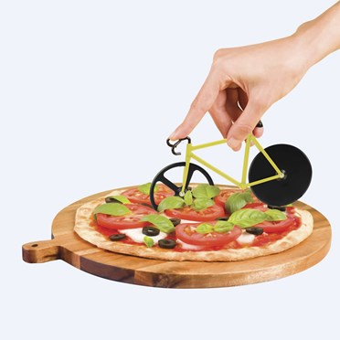 An image of Yellow Bike Pizza Cutter | with 2 Wheel Blades